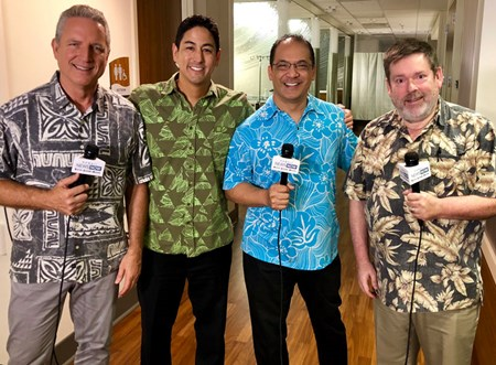 Hawaii News Now Sunrise reporters (from left) Dan Cooke, Steve Uyehara, Billy V and Howard Dicus took a field trip to the infusion center at Pali Momi July 20, 2018, for a live broadcast.